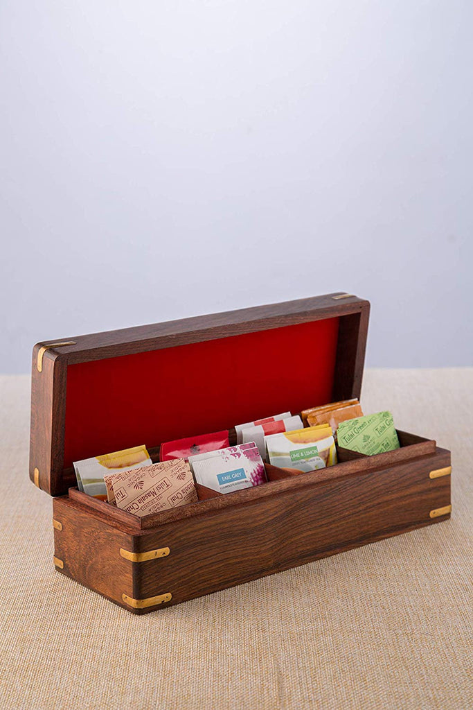 Rusticity Wood Tea / Spice Storage Box with Lid and 8 pockets | Handmade | (12x4.5 in)