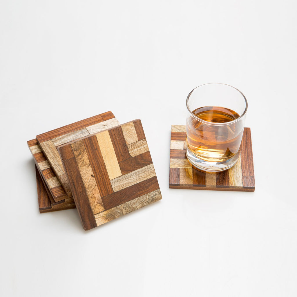 Rusticity Cool Wood Coaster Set of 6 f- Isocentric Design | Handmade | (4x4in)