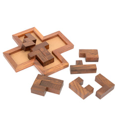 Rusticity Wood Tangram Puzzle Game 9 piece | Handmade | (6.5x6.5 in)