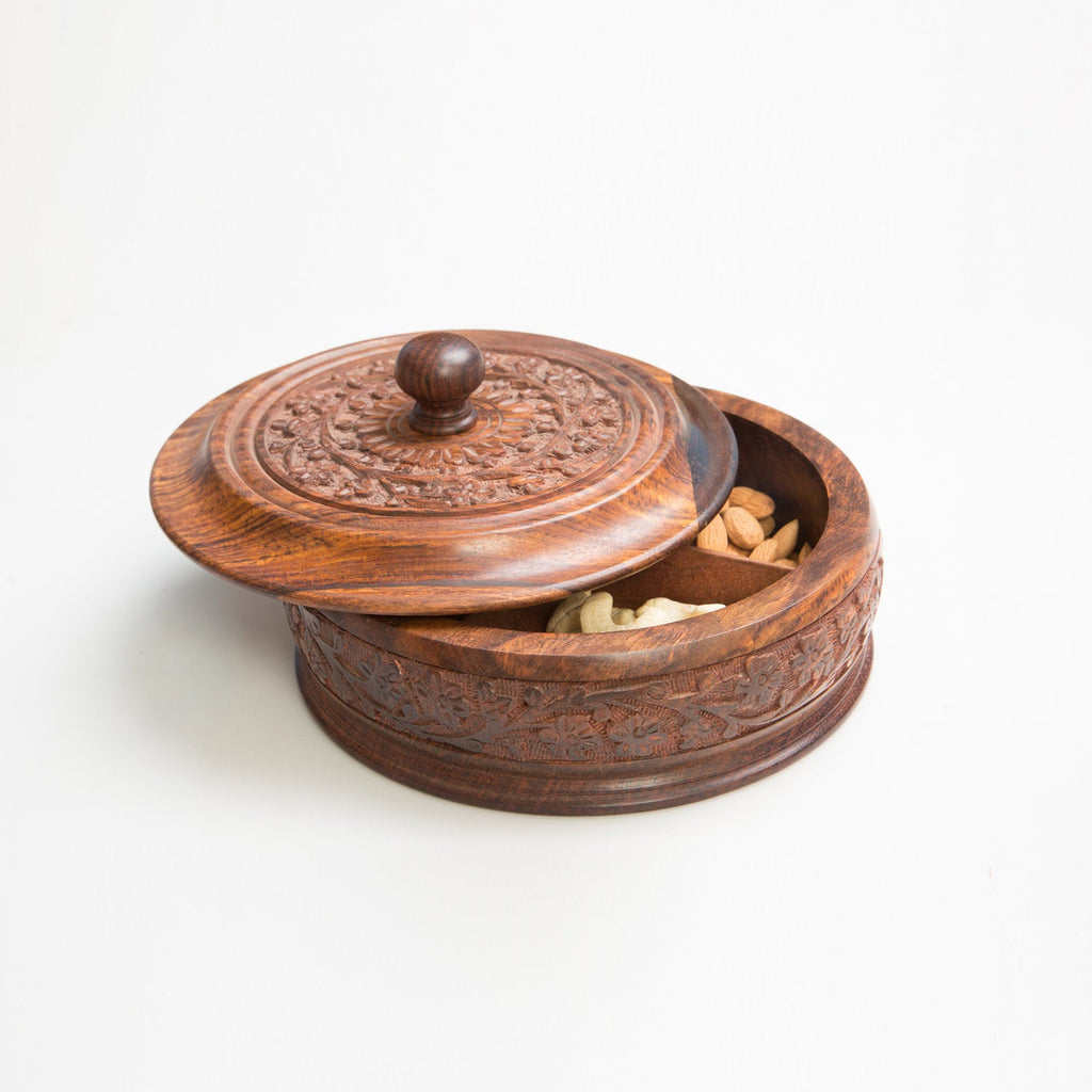 Rusticity Wooden Dry Fruits Box ( with removable partitions ) | Handmade | (8.25x8.25in)
