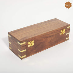 Rusticity Wood Tea Box / Spice Storage Box with Latch and 8 pockets | Handmade | (12x4.5 in)