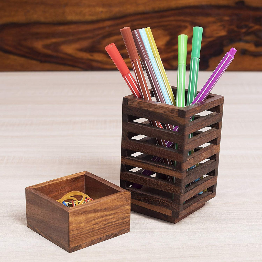 Rusticity Wooden Pencil/Pen Holder for Desk, Office and Home | Handmade | (2.6x2.6x5.4 in)