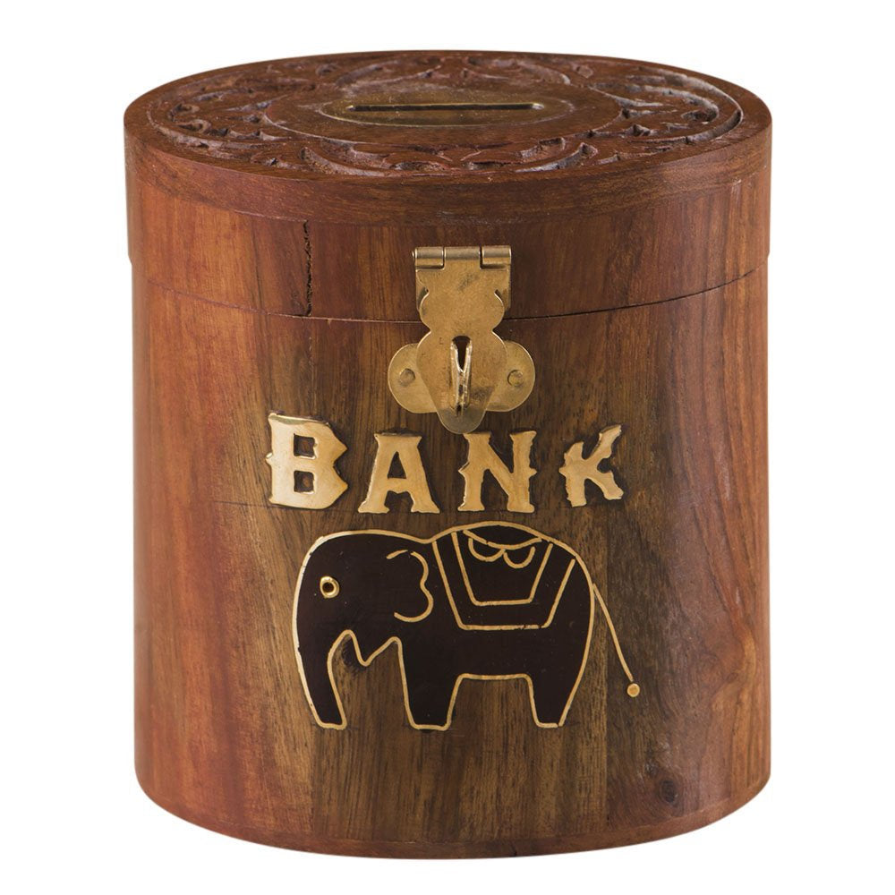 Rusticity Wooden Piggy Bank / Coin Bank Oval - Elephant Design | Handmade | (4x3.5 in)