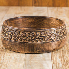 Rusticity Wood Serving Bowl/ Salad Bowl | Mango Wood | Handmade-carved | (8in)