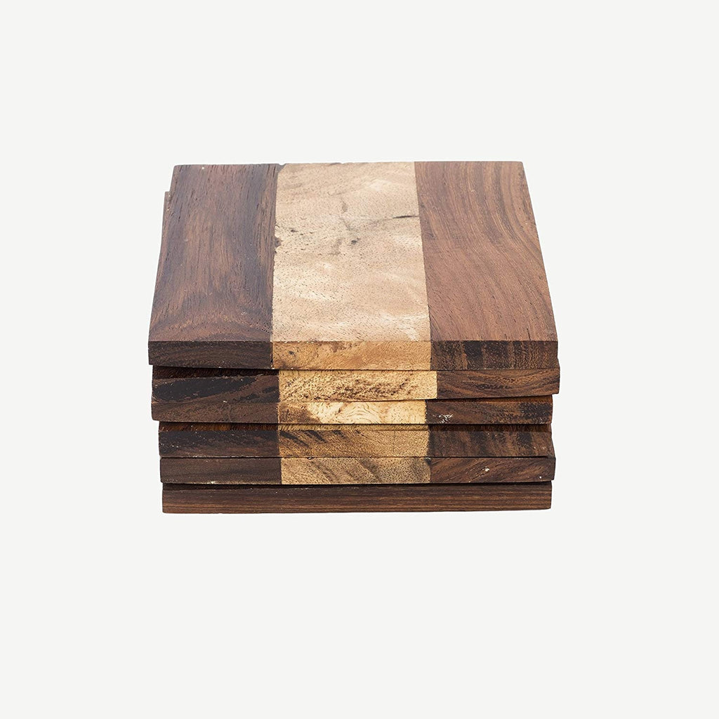 Rusticity Wooden Coaster Set of 6 | Handmade | (3.7x3.7 in)
