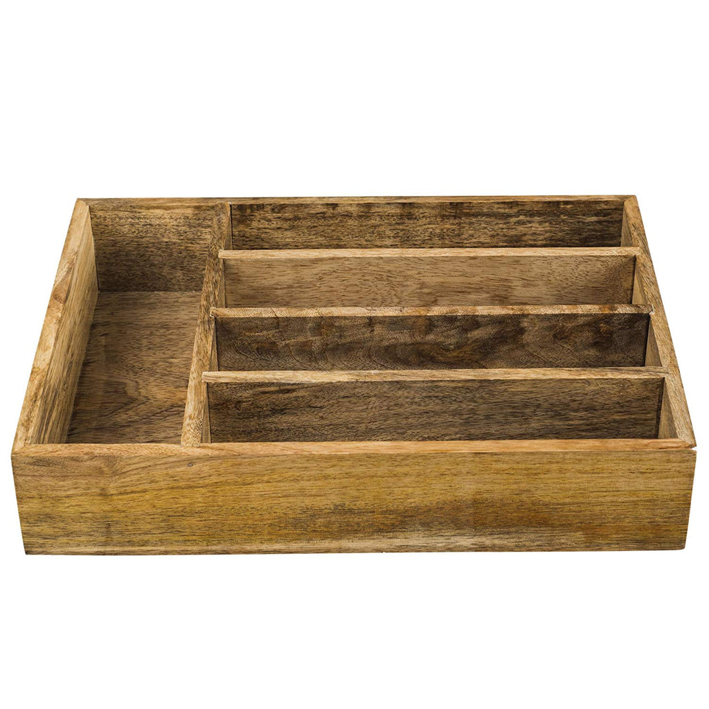 Rusticity Wooden Compartment, desk organizer, Cutlery, Drawer, Tray, Utensil Organizer- 5 Compartments| Mango Wood | Handmade | (13.7 x 10.2 x 2.6 in)