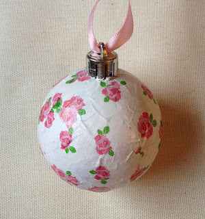 pink floral decoupaged bauble