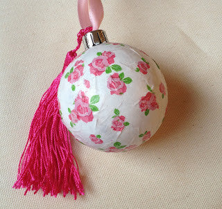 pink floral decoupaged baubles tassels