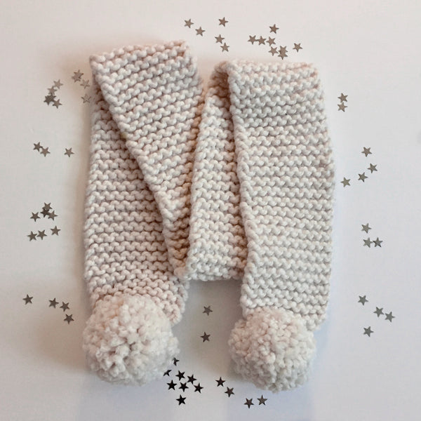 Scarf | Chunky Knit Cream Yarn with Pom-Poms Scarf - classicbecca