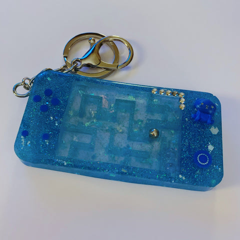 Blue Glitter Maze Games Console Keyring Keyring - classicbecca