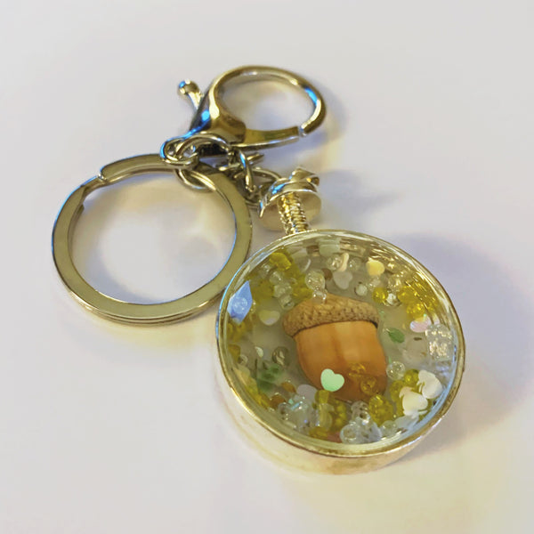 Silver Round Acorn Keyring with Sparkles Keyring - classicbecca