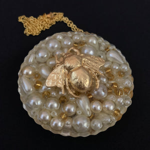 Pearl Bead Round Gold Leaf Bee Statement Necklace Necklace - classicbecca