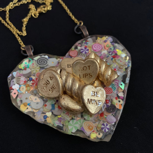 Gold Leaf Retro Sweets & Sugary Treats Heart Statement Necklace Necklace - classicbecca