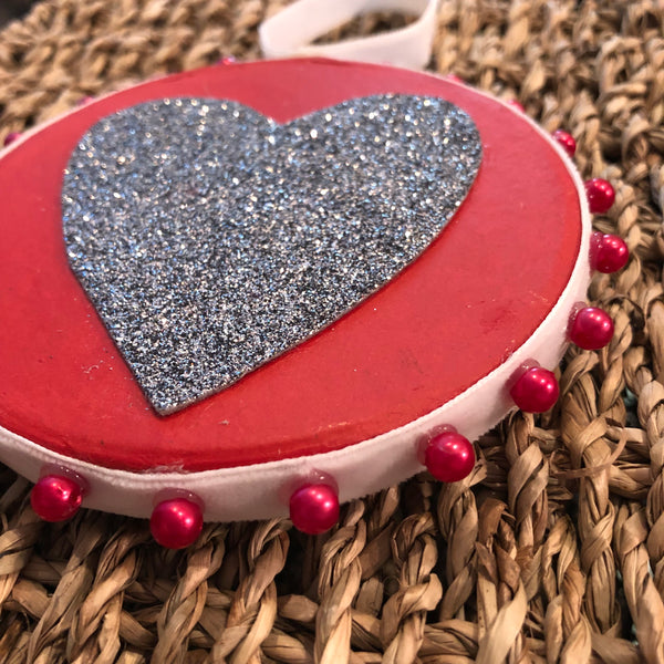 Red Beaded Heart Decoration Decoration - classicbecca