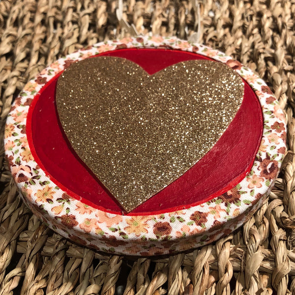 Red & Gold Floral Heart Decoration Decoration - classicbecca