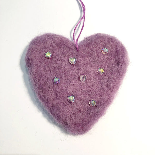 Needle Felted Heart Decoration Heart Decoration - classicbecca