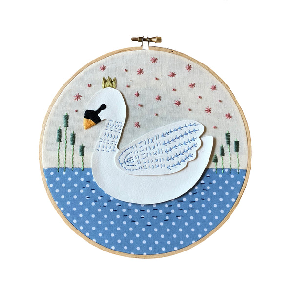 Swanning Around Embroidery Hoop Embroidery Hoop Art - classicbecca