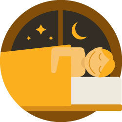 graphic of a happy person getting a good night's rest on a Nolah Mattress.