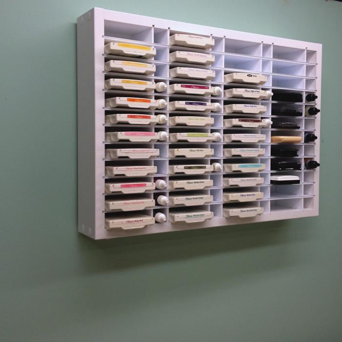 The 48 Ink / ReInk Organizer hanging on the wall.