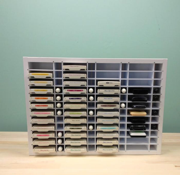 Far away view of the 48 Ink / ReInk Organizer. Shows a picture of the organizer almost full of ink pads and reinkers.