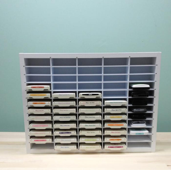 Front view of the 60 Ink Pad Organizer showing all the colorfully displayed ink pads.