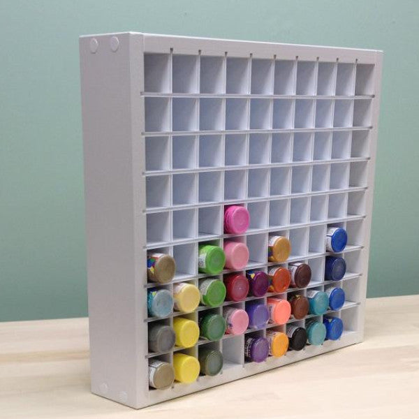 The main photo of the organizer that holds 90 acrylic paint bottles.