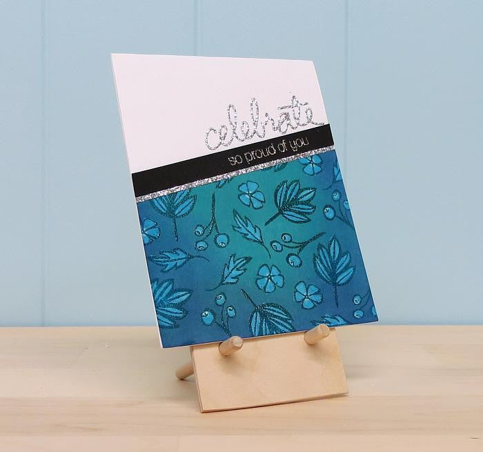 Main photo of one Card Easel. This handcrafted organizer holding a hand stamped card.