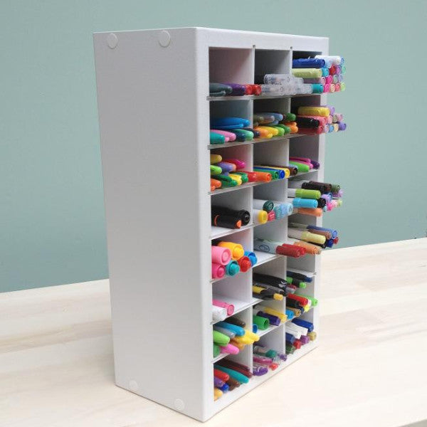 A side view of the Marker organizer standing up like its on a desk or craft space.