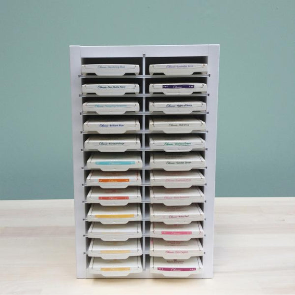 Mini Ink Pad Organizer with 24 Stampin' UP ink pads lined up and displayed.