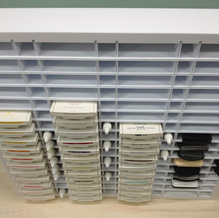 Pro Ink / ReInk Organizer above view with the ink pads organized and lined up.