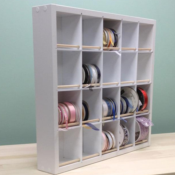 Main view of the Pro Ribbon Organizer. Entire organizer is shown with a bunch of ribbon.
