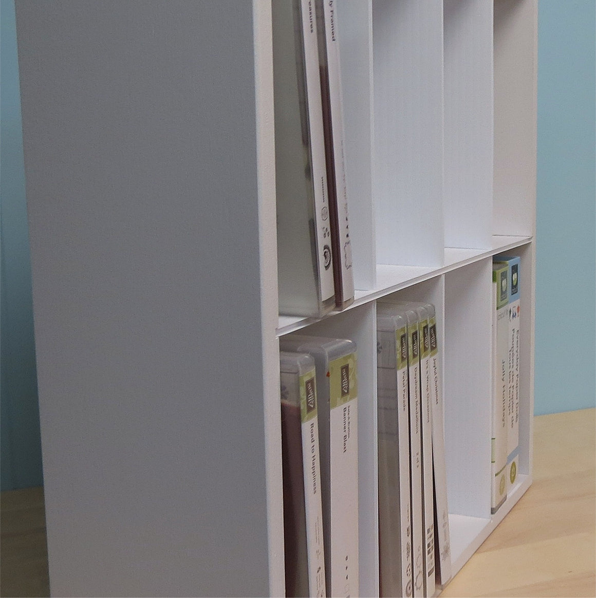 A side view of the DVD style Stamp Set Organizer.