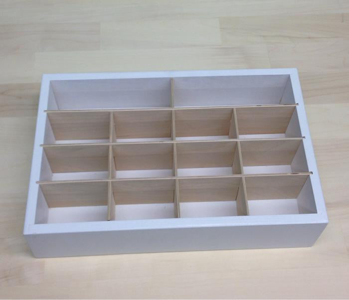 A Journaling Card Caddy with the natural wood inserts and white painted organizer.