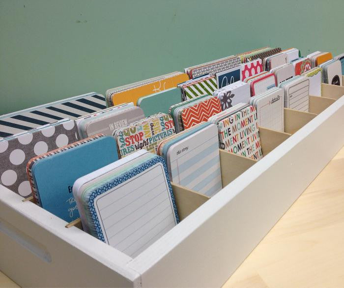 A side view of the Journaling Card Caddy.