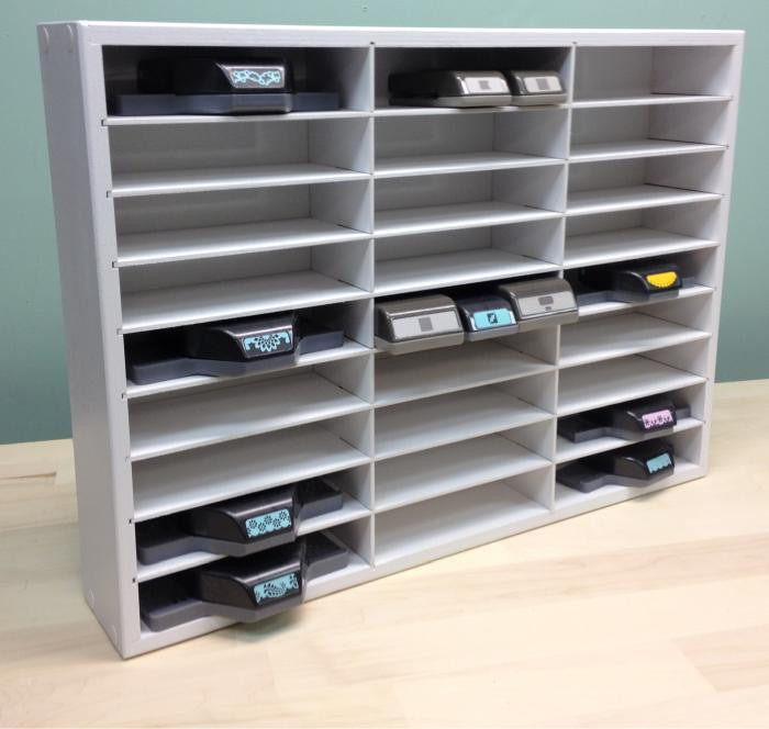 A front view of the Paper Punch Organizer with the adjustable shelves.