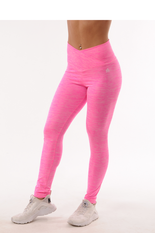 High Rise Leggings - Pink Space Dye