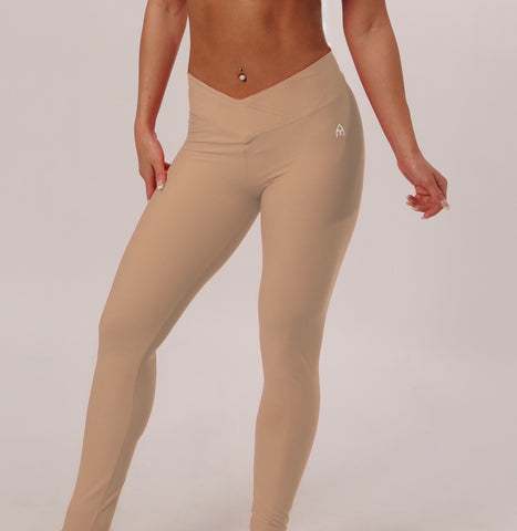 Medium Rise Leggings - Beige