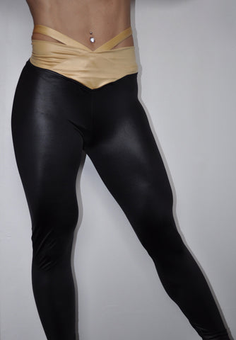 Dual Deluxe Shiny Strapped Leggings