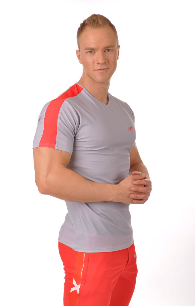 ATLPRL Fitted Stripe T - Grey