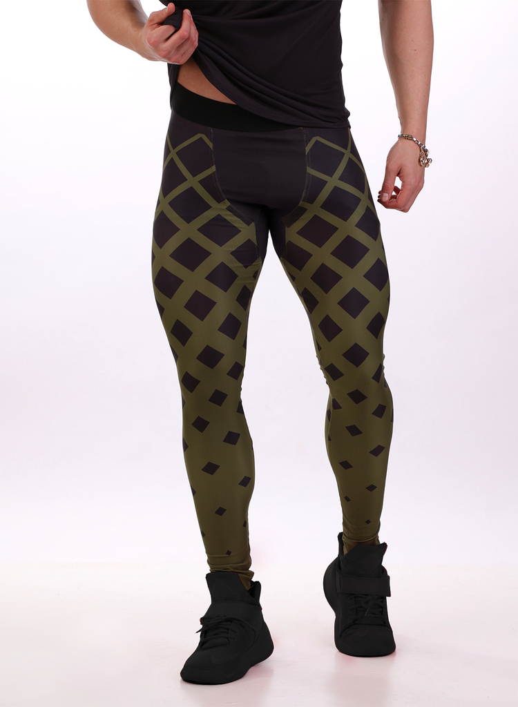 Attila's Compression Tights - Khaki Fading Squares