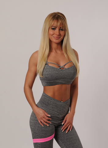 Strapped Sports Bra - Grey Space Dye