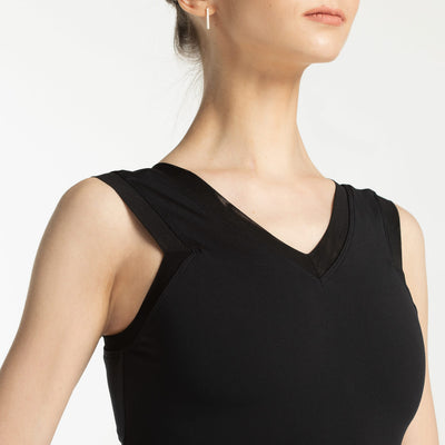 best ballet leotard with mesh in black color, for adults