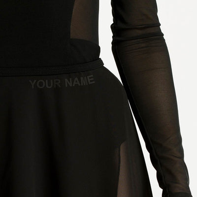 short ballet black skirt, wrap skirt, your name