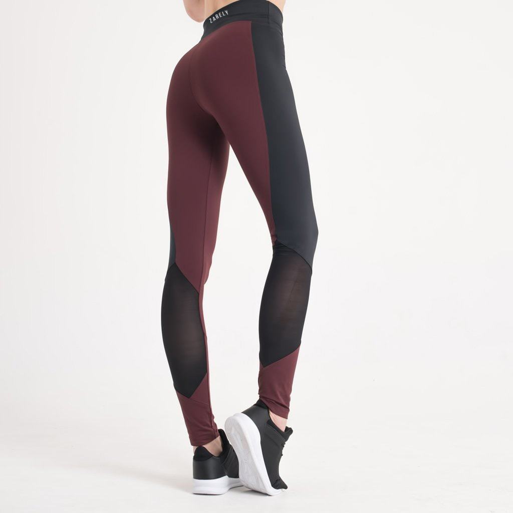 Zarely leggings-women XS Karina Burgundy Panel Leggings
