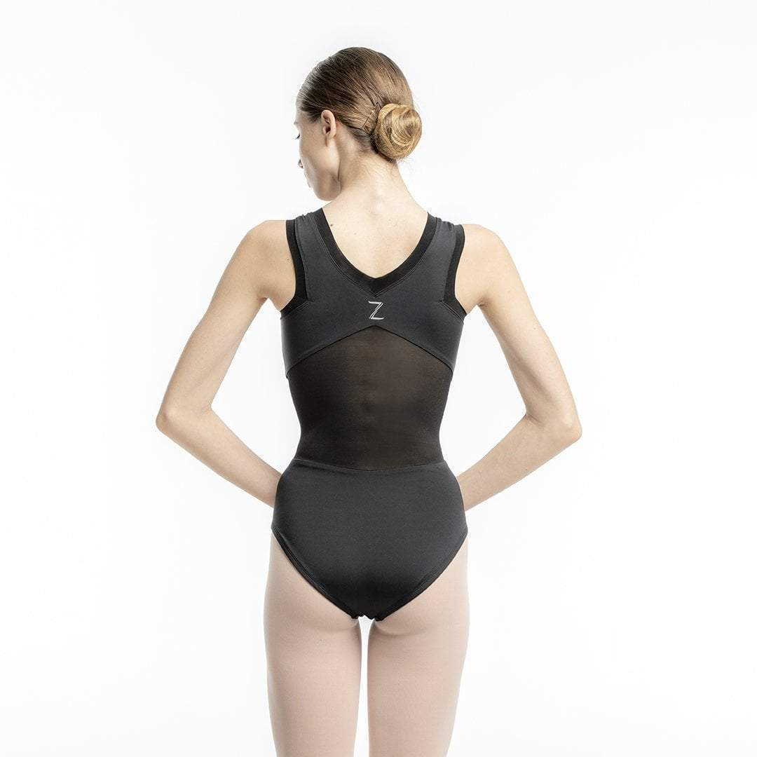 Alicia Black Mesh Leotard for teens