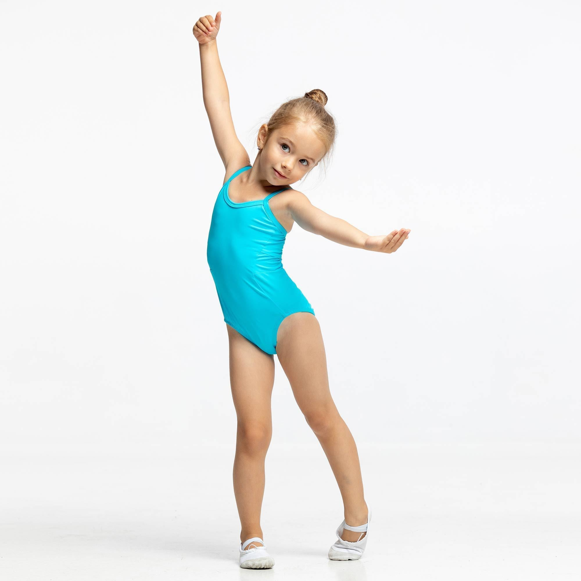 small size leotards for kids, turquoise color, green color