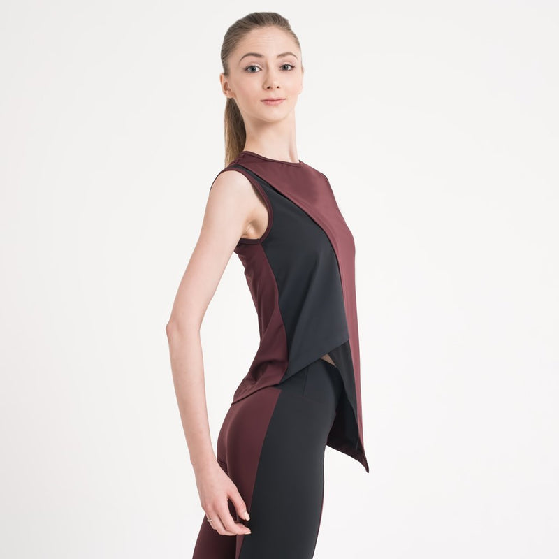 Zarely top-women Karina Burgundy Assymetric Top