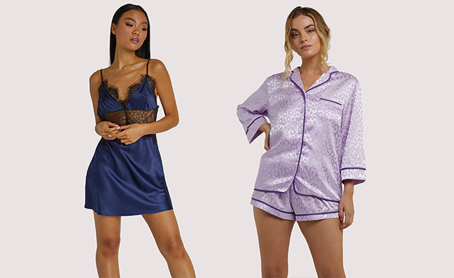 WOLF & WHISTLE TRACEY LILAC LEOPARD PJ SET AND HELENA NAVY SLIP DRESS