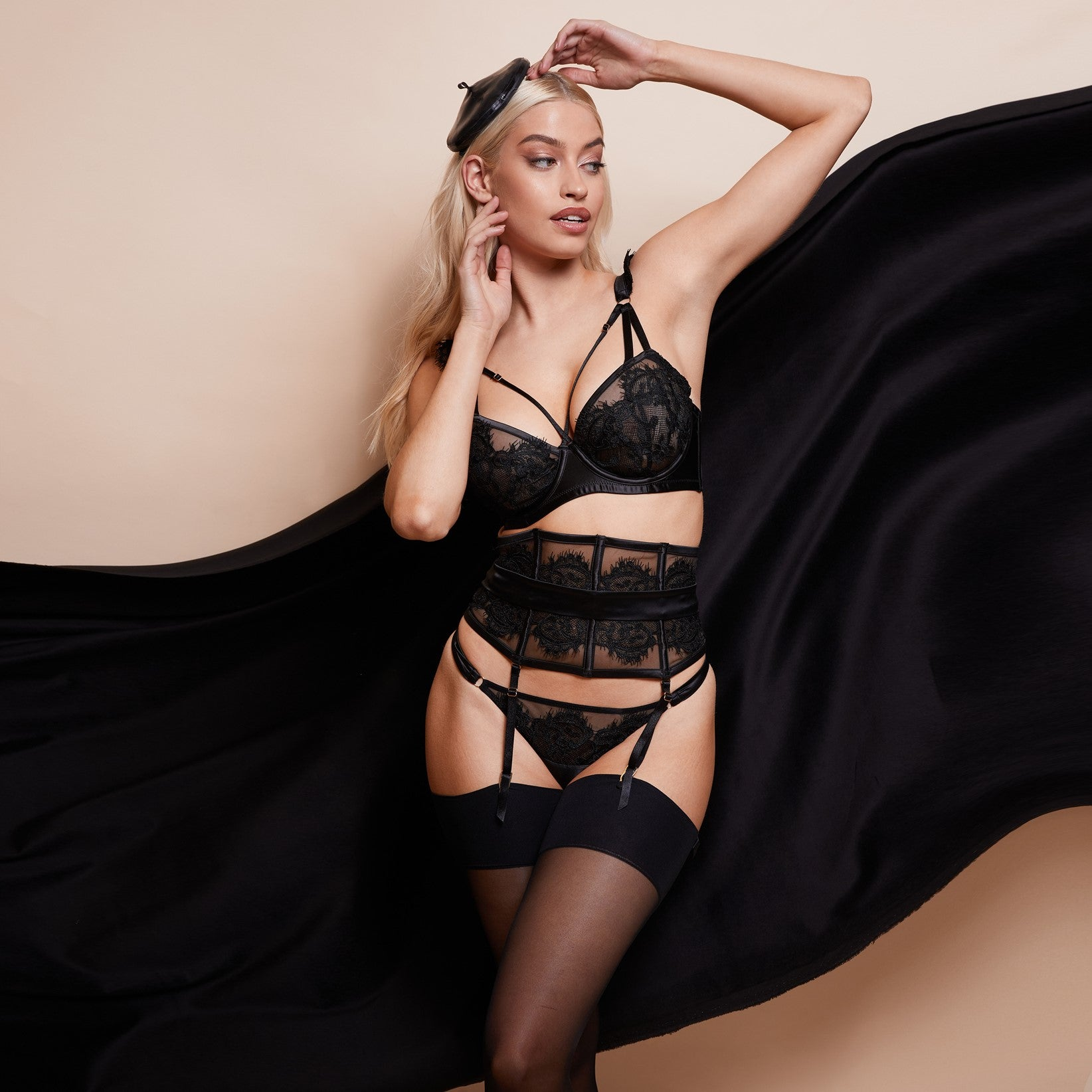 Playful Promises Anneliese lingerie set including bra, waspie suspenders and briefs