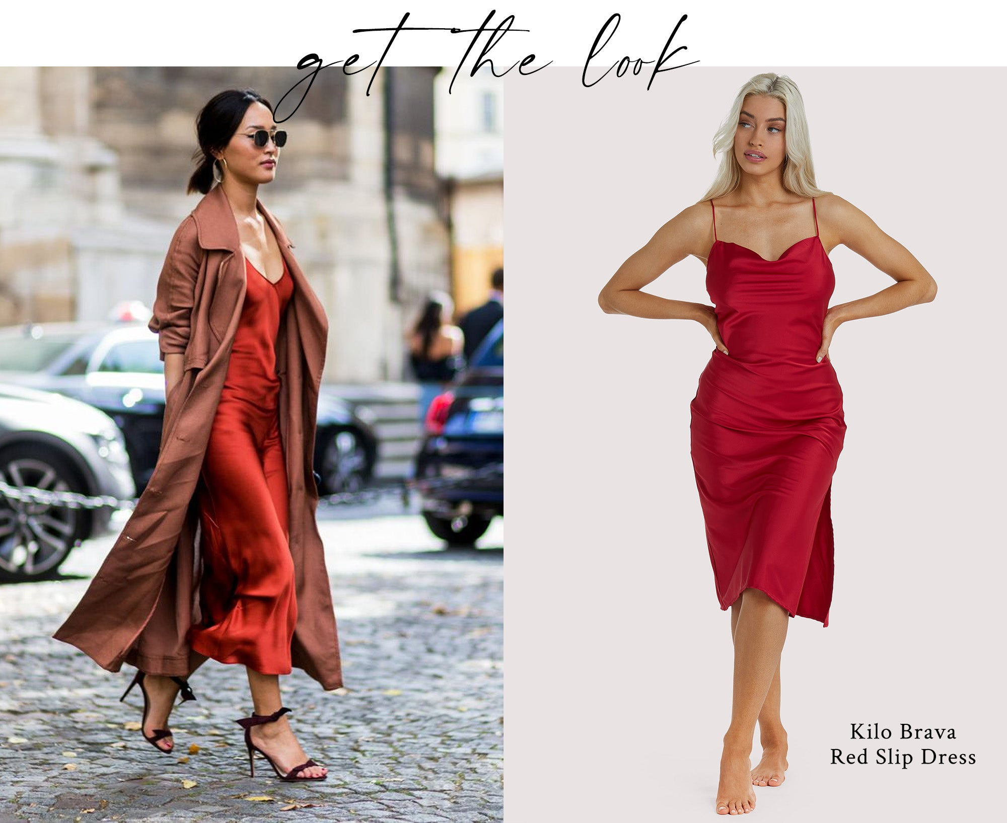 Red slip dress lingerie as outerwear look
